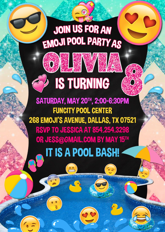 Emoji Pool Party Invitation