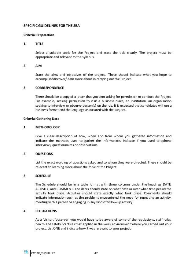 Cover Letter Criteria