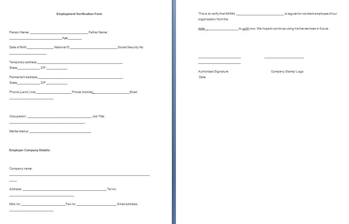 Employment Verification Template The Form Free Formats Excel Word