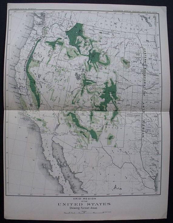 1890 Map USA Arid Region, Showing Forest Areas, Western ...