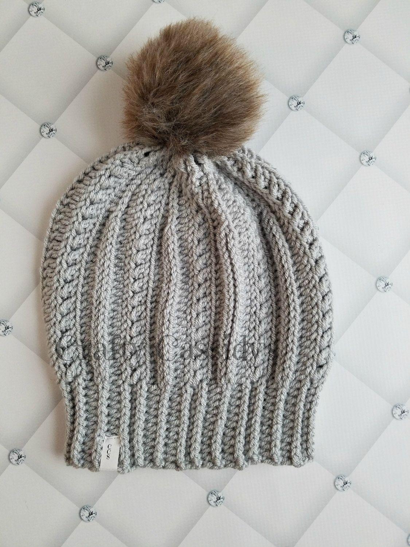b0ba6bb2830 Womens small slouch hat with faux fur pom pom