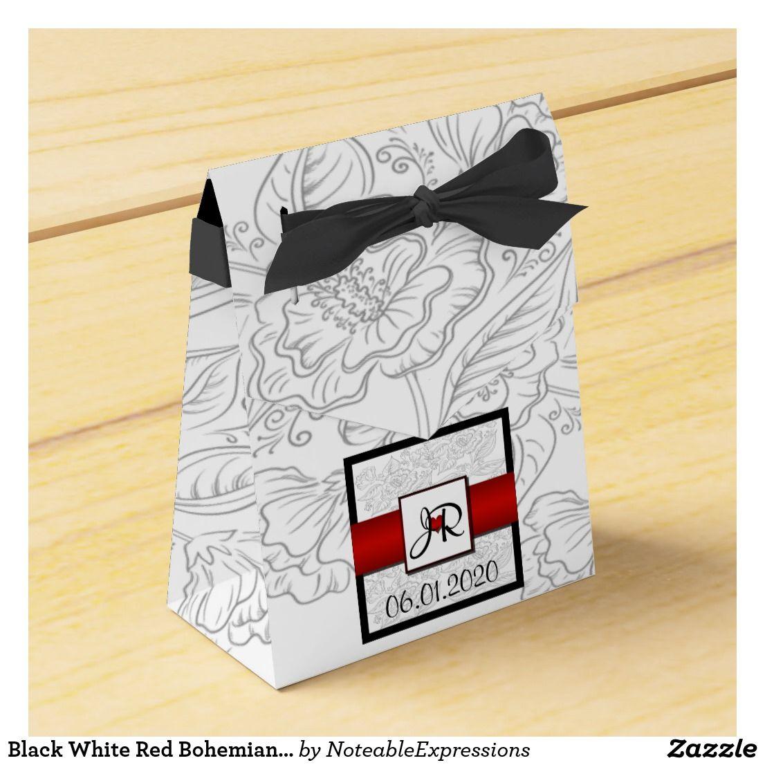 Black White Red Bohemian Wedding Favor Box   Bohemian, Bohemian ...