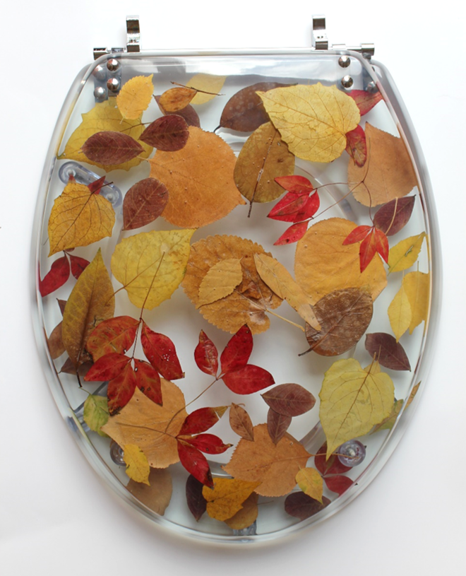 gold foil toilet seat. resin toilet seat, autumn leaves gold foil seat