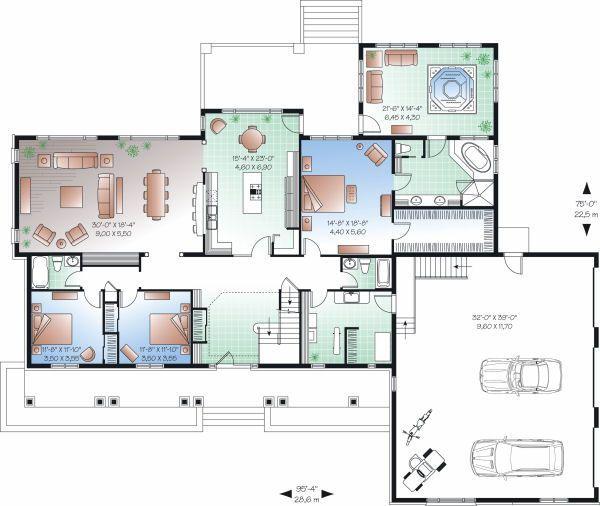 Square feet bedrooms batrooms parking space on levels floor plan number also rh pinterest