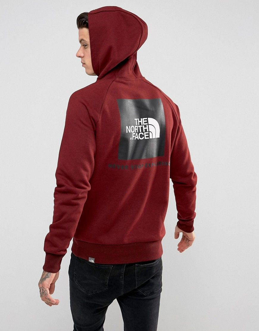 c809849c6761 The North Face Raglan Hoodie Back Red Box Logo in Burgundy - Red ...