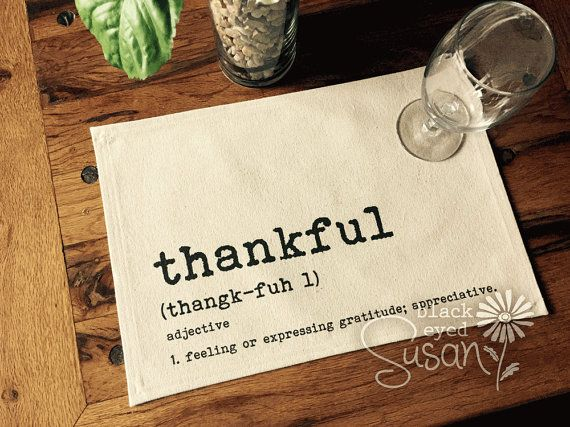 Thankful Placemats of Natural 100% Cotton by EuroCountryChic