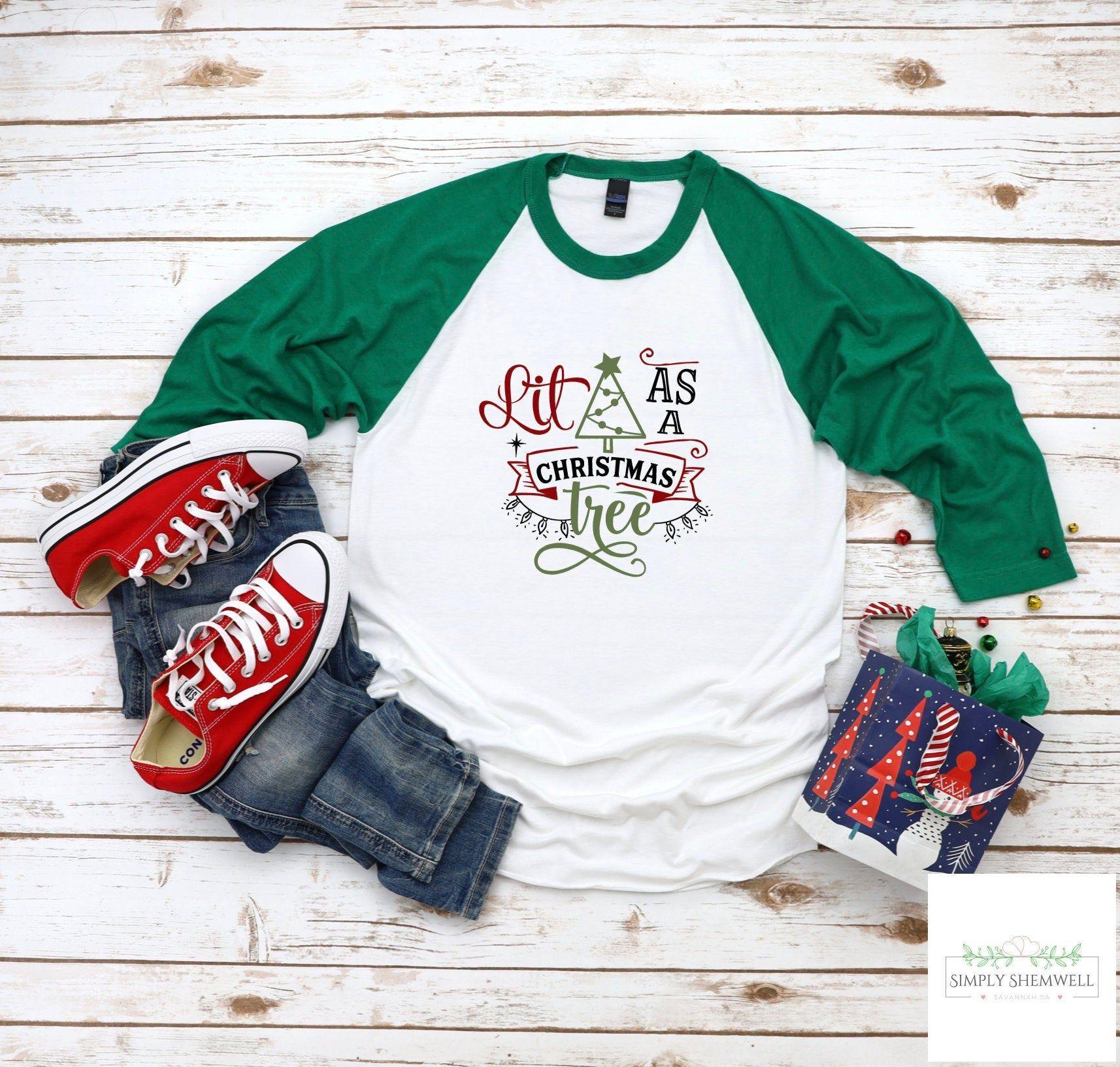 Download Lit as a Christmas Tree Baseball Shirt | Christmas ...