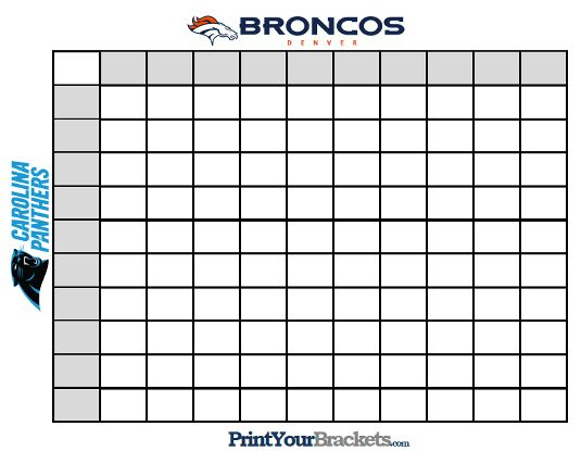 Download A Free Printable  Super Bowl Squares Template For