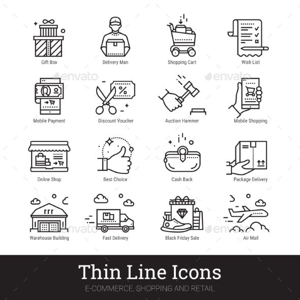 Shopping, Retail Business Linear Icons 아이콘
