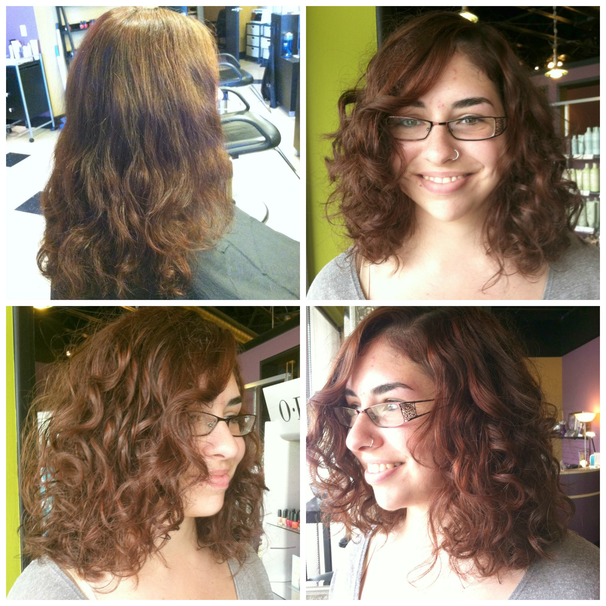 Curly clavicle length cut by francie at avantgarde salon for C curl perm salon vim