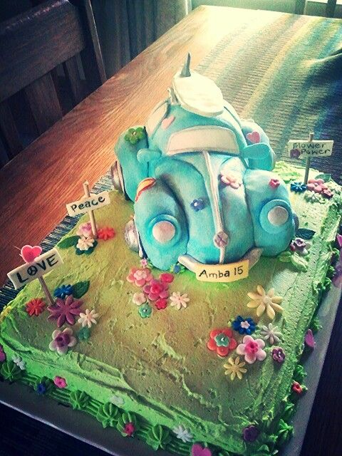 Cake decoration vw beetle cake car cake hippie cake surfer cake