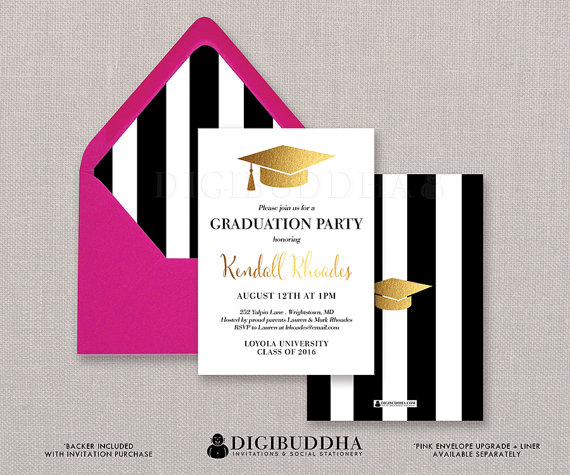 Black  White Stripe Graduation Invitation Gold Cap Modern Faux