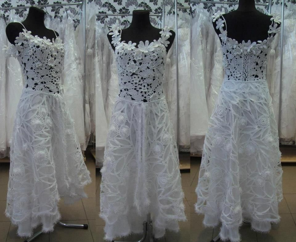 Irish Crochet Wedding Dress Very Difficult Knitted Crocheted ...