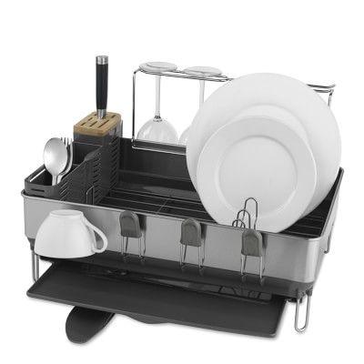 Simplehuman 8482 Steel Frame Dish Rack With Wine Glass Dryer