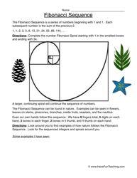 Fibonacci Sequences Number Patterns Worksheet 2 Number