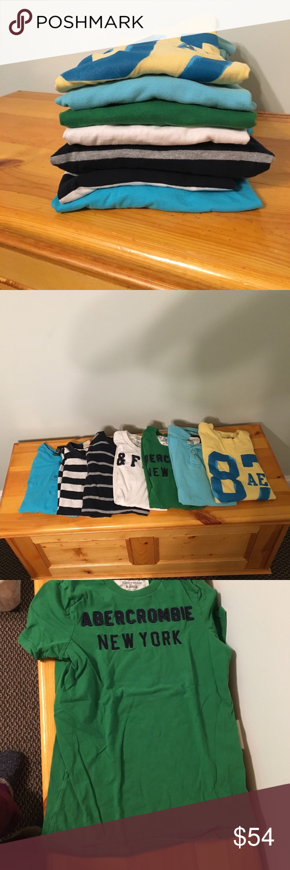 Abercrombie Bundle • 7 Tees This is an amazing deal for shirts in great preloved condition! Bundle includes Abercrombie, Hollister, H&M & Aeropostale. All tees are short sleeve, besides the solid bright blue and the navy striped gray. All are sizes XS or SMALL in adults or sizes XL in Kids. Perfect short & long sleeve tees for ur teen! Colors: blue, yellow, green, white, white Abercrombie & Fitch Shirts & Tops Tees - Short Sleeve