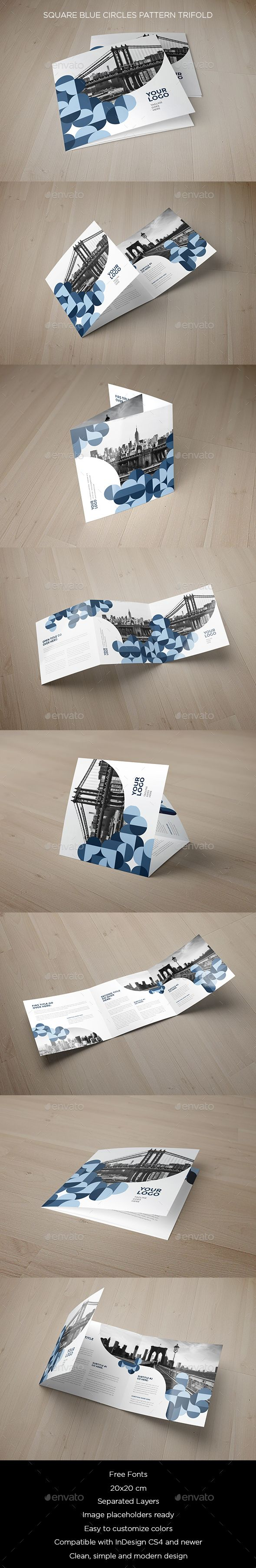 square blue circles pattern indesign trifold template only
