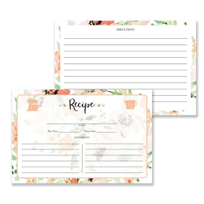 Floral Watercolor Recipe Cards Gift Set Kaylee Recipe cards - recipe card