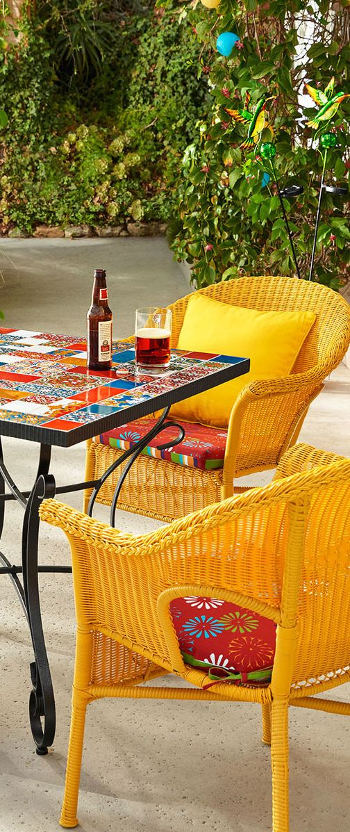 Mosaic Dining Table With Bright Chairs Outdoor Tables And Chairs Patio Furniture Modern Outdoor Living
