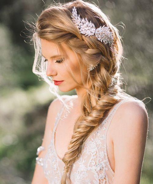 Fishtail Braided Long Wedding Hairstyles 2016