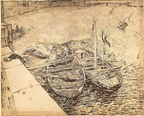 Quay with Men Unloading Sand Barges - Vincent van Gogh