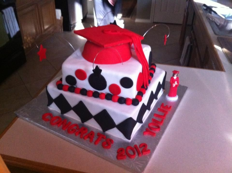 Cake Design For Matriculation : Red, White and Black Graduation cake Amanda s Graduation ...