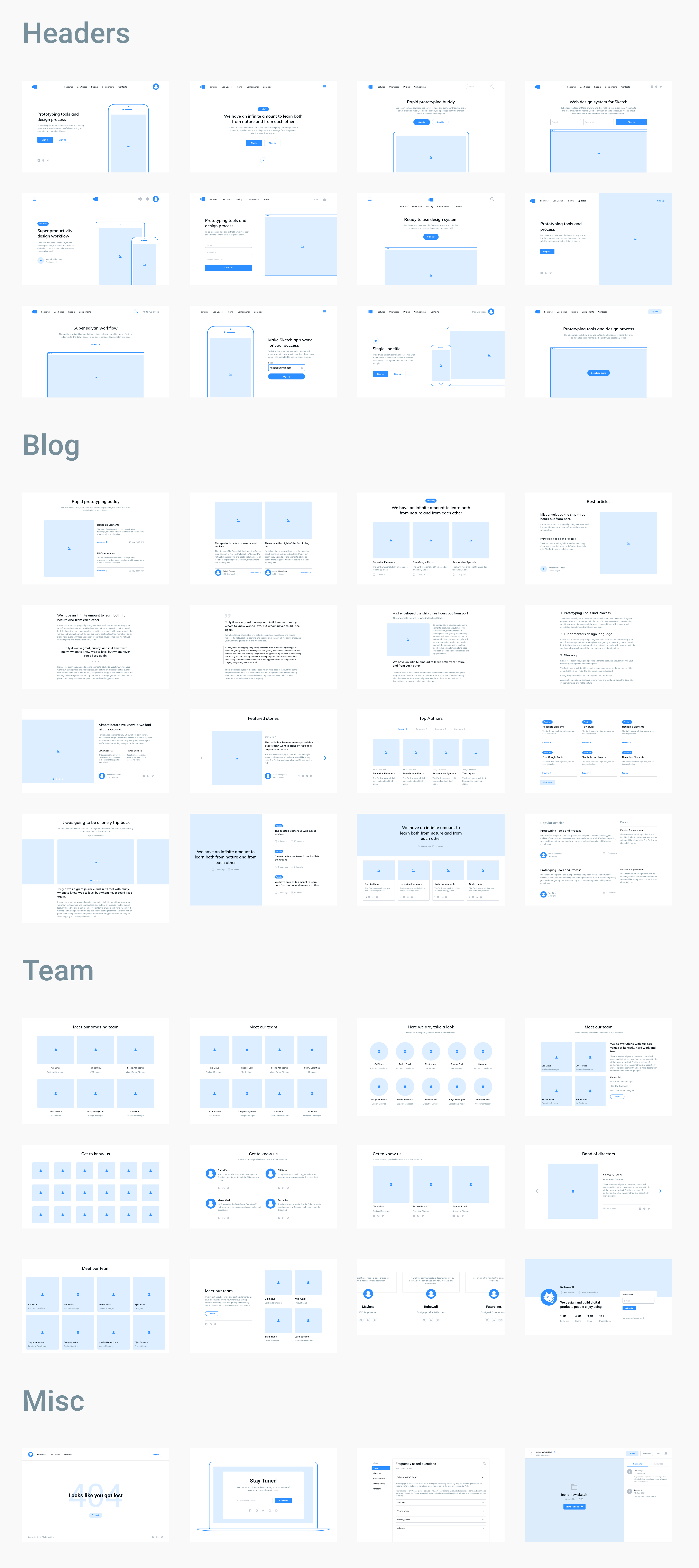Layouts sorted into popular web categories that are ready to be used as working materials for kick-starting a new project in seconds.  #web #ux #ui #design #layouts #headers #blog #team #responsive #frames #sketch #designsystem #components #wireframe #prototype