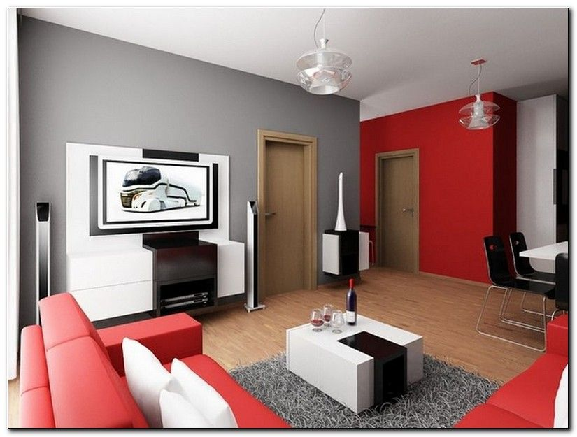 Red And Gray Color Scheme Living Room Interior