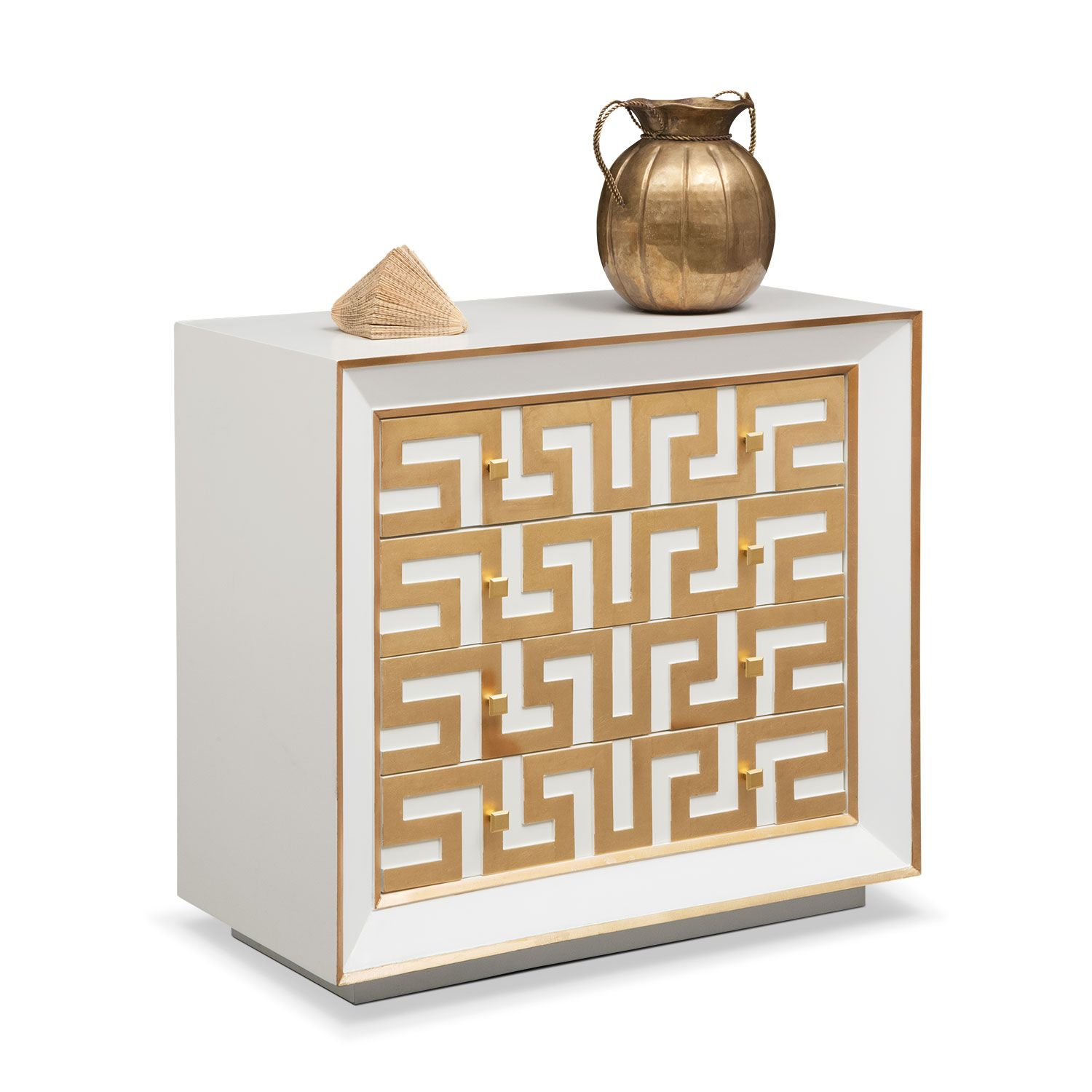 Strong Looks. Simple yet bold design elements on the Halston bachelor chest in gold generate a rich, masculine style. Its satin white picture-frame, mitered-front façade features metallic-leaf edging and a greek key motif. It's a retro look, yet the contemporary utility of this chest comes through in spades with a USB charging outlet and four drawers.
