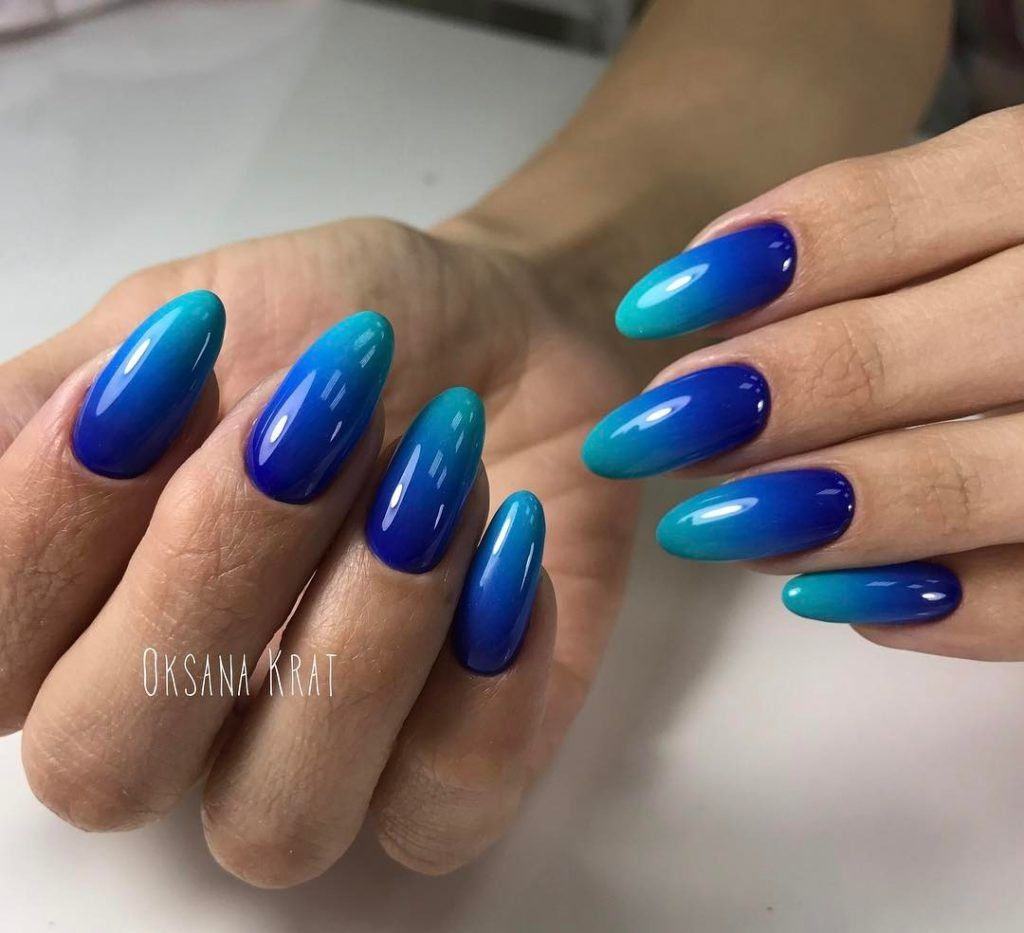 Royal Blue And Turquoise Ombre Nail Art The Best 12 French