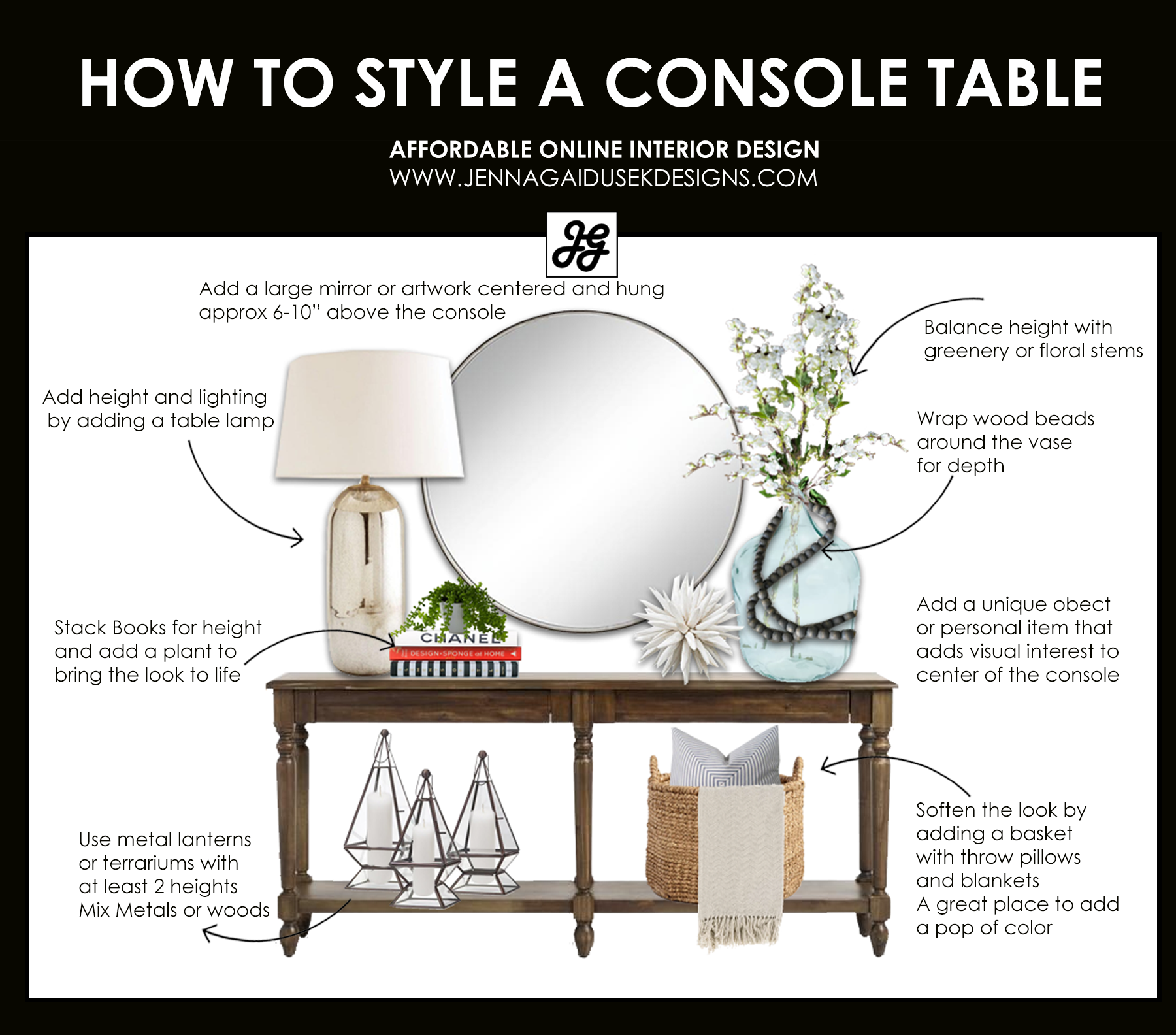How to Style a Console Table with a Refined Farmhouse Touch — Jenna Gaidusek Designs