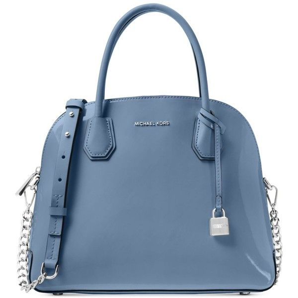 fbf690b0c2d8 Michael Michael Kors Mercer Patent Large Dome Satchel ($117) ❤ liked on  Polyvore featuring bags, handbags, denim, michael kors, patent leather  handbags, ...