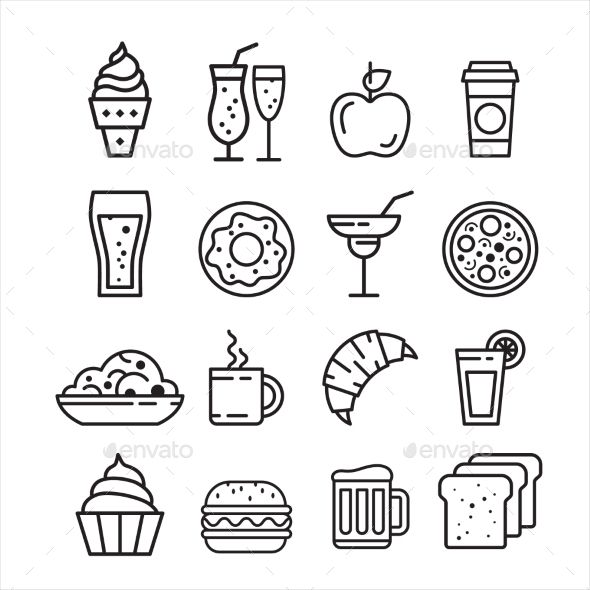 Easy Cute Food Drawings Black And White