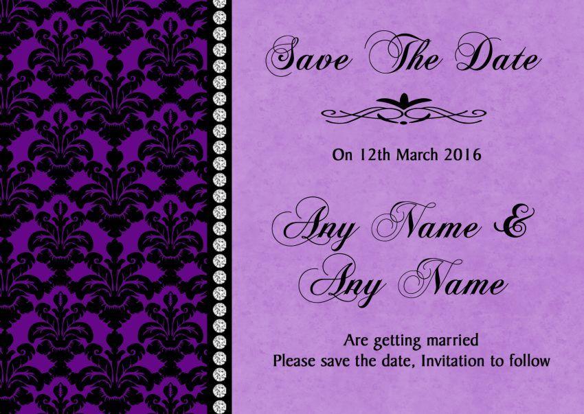 Cadbury Purple Black Damask /& Diamond Personalised Wedding Thank You Cards