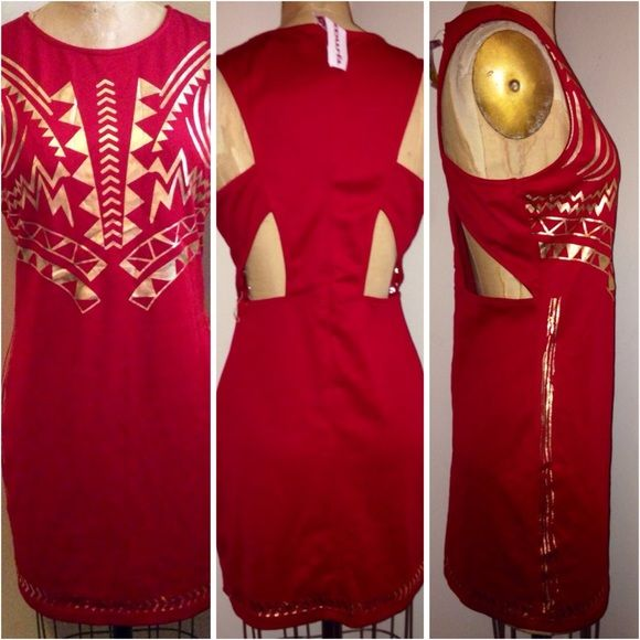 Red mini dress with gold Aztec print. Red mini dress with gold Aztec print. Size m-L, fits size 9. Polyester stretch material. NWT best offer. Dresses Mini