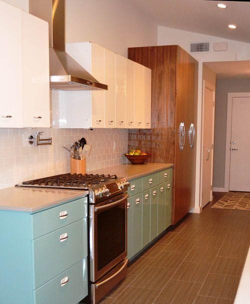 Modern Retro Fusion Kitchen Design Turquoise Kitchen Cabinets Modern Kitchen Remodel Kitchen Cabinet Remodel