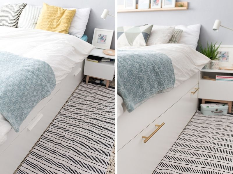 Ikea Hack Add Some Brass Pulls To The Brimnes Bed To Spruce
