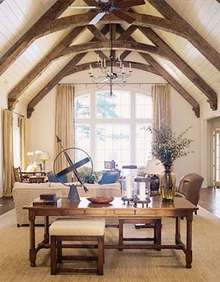 LOVE white shiplap vaulted ceiling with stained beams The