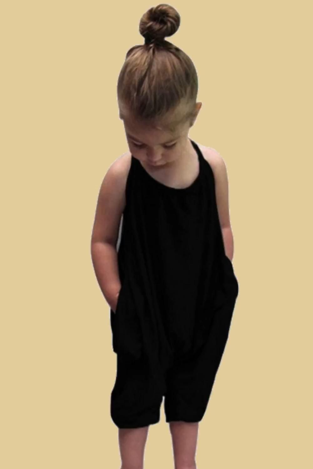 Black Baby cute harem jumpsuits for girls: Material: Cotton Blended, size 2T-7T, suitable