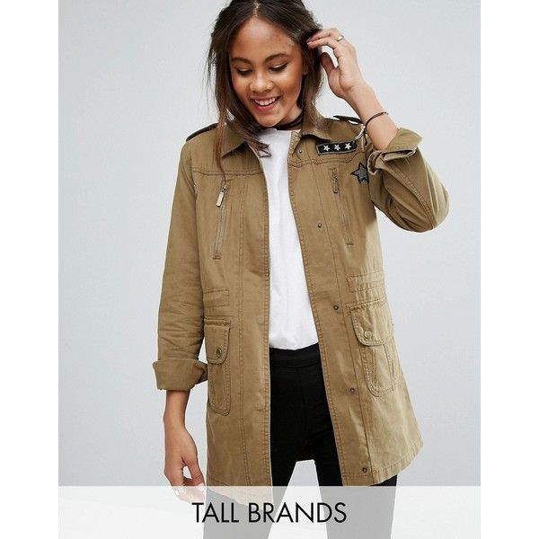Brave Soul Tall Military Jacket With Patches (165.790 COP) ❤ liked on Polyvore featuring outerwear, jackets, green, zip pocket jacket, green zipper jacket, military jackets, patch jacket and green military jackets