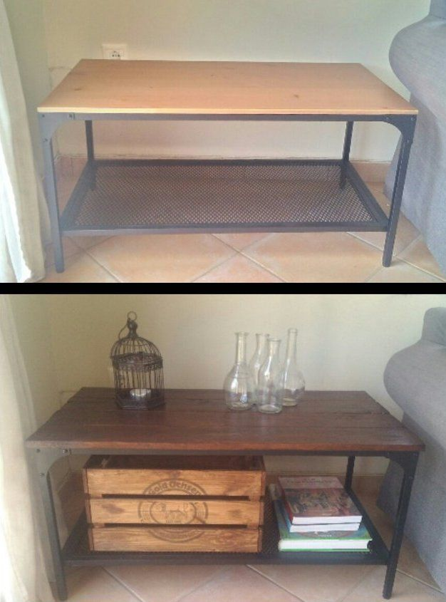 Fjall Boring Turned Rustic With Wooden Pallet Top Coffee Table Ikea Hack Pallet Coffee Table Diy Ikea Coffee Table