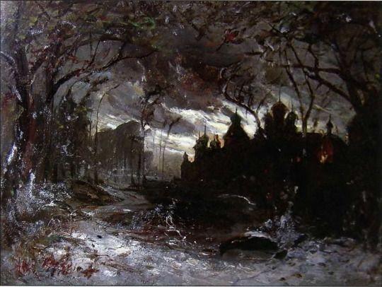 Aleksei Savrasov - Ipatiev monastery in the winter night (1870)