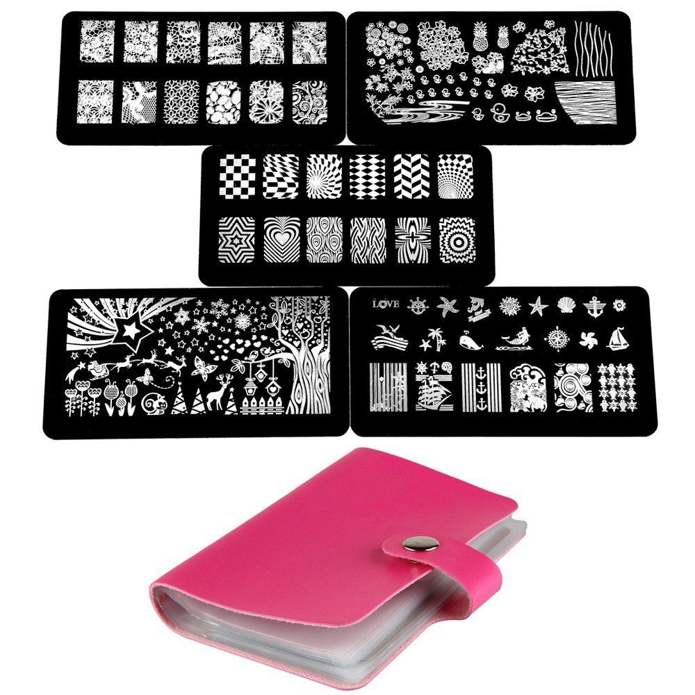 Beauty7 5PCS Nail Stamping Printing Plate Image Stamps Transfer ...