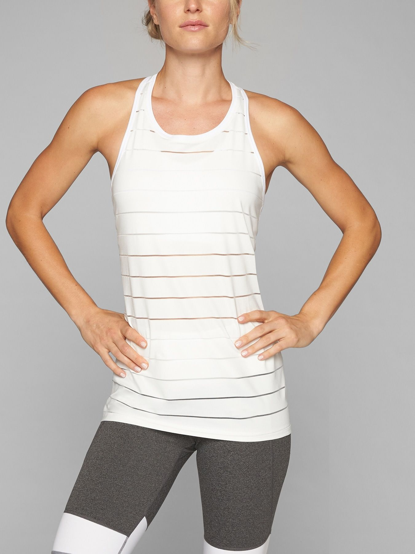 3cac9dc616 Stripe Mesh High Neck Chi Tank in 2019 | Threads | Athletic tank ...