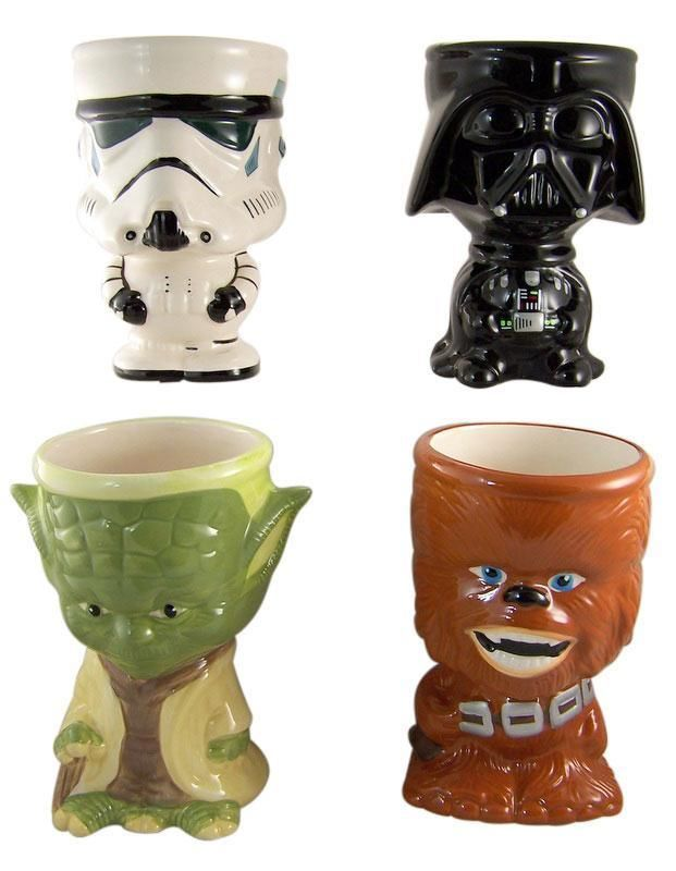Set 4 Star Wars Cup Mug Yoda Chewbacca Darth Vader Stormtropper