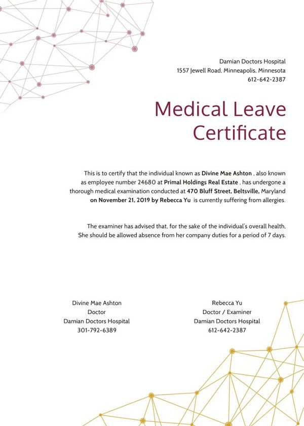Medical Certificate Template 21 Medical Certificate Templates  Free Word & Pdf  Office Work .