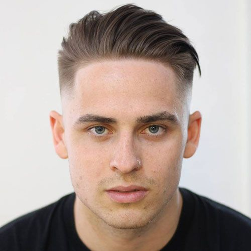 Mid Fade with Angular Comb Over More