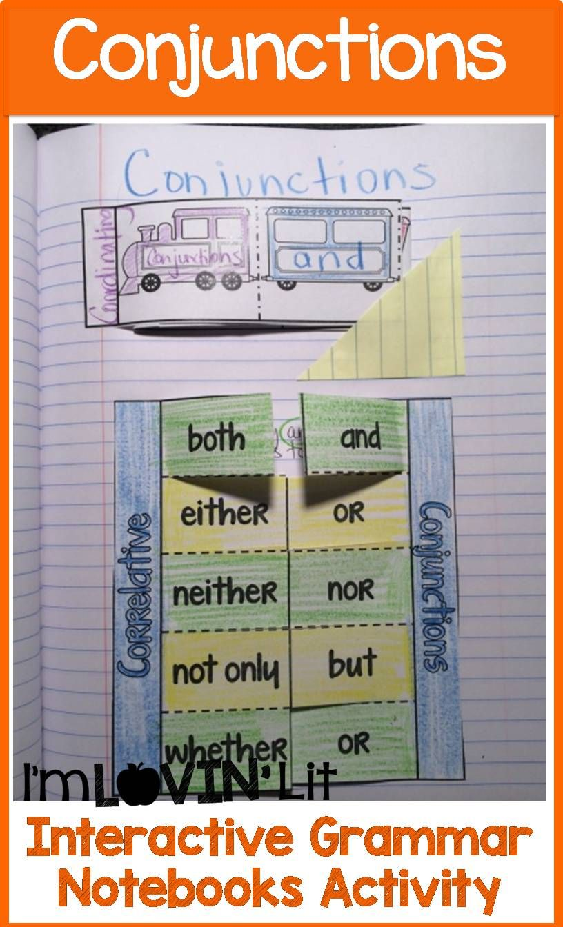 Conjunctions Interactive Notebook Activity, Foldable ...