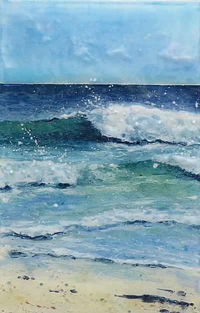 August Day Porthmeor Jane Reeves Ocean Painting Seascape