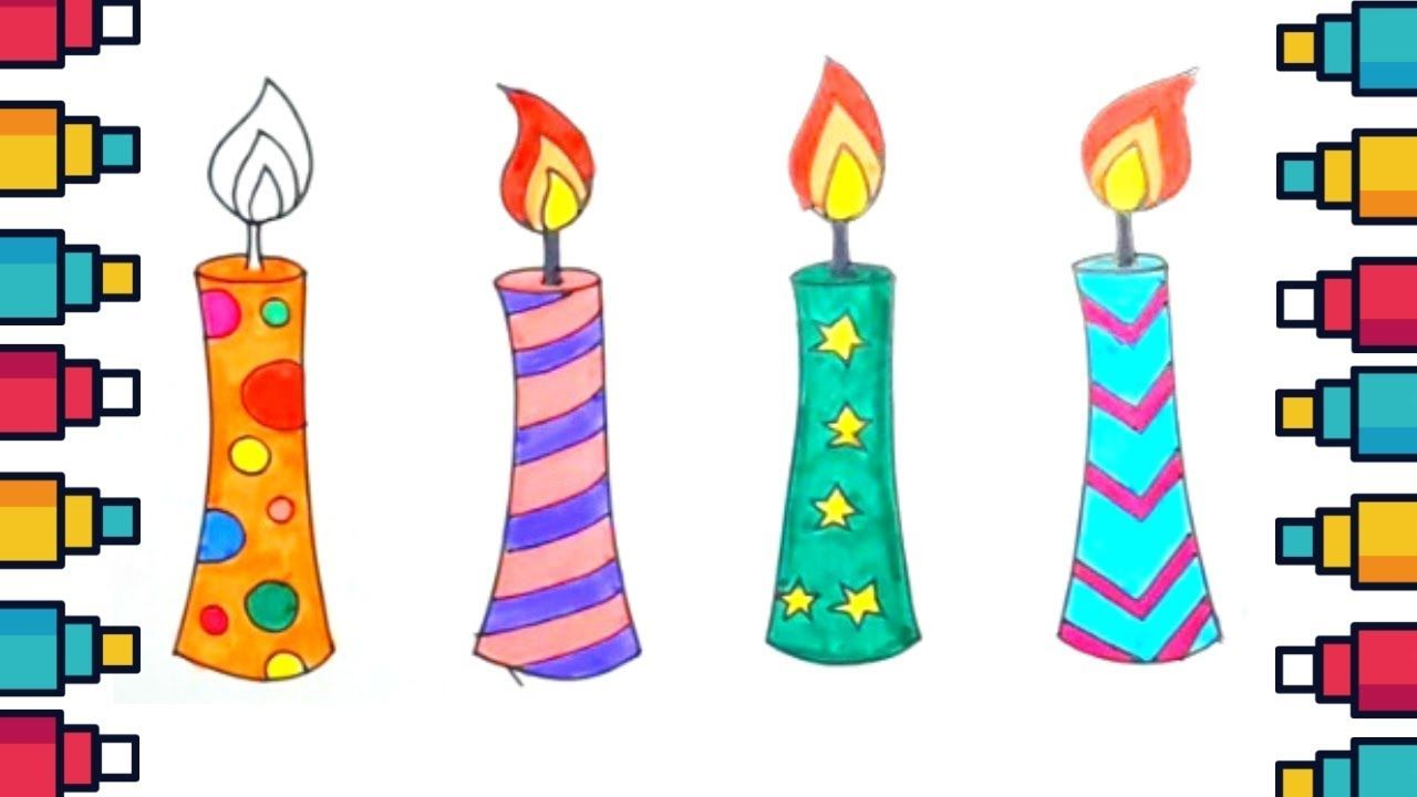 How To Draw Candles Step By Step Easy Drawing Candles Kids Candle Drawing Realistic Candles Star Tattoos
